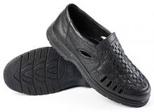 Полуботинки кожаные мужские с перфорацией «Никс» (черные)