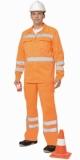 Костюм Магистраль-специалист: куртка длинная, полукомбинезон оранжевый со светоотражающими полосами