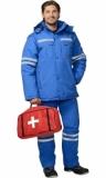 Костюм Скорая помощь мужской зимний: куртка, полукомбинезон васильковый