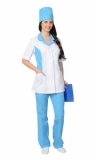 Медицинский костюм Флоренция женский: куртка, брюки, колпак белый с голубым