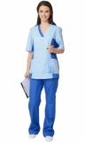 Медицинский костюм Ирина женский: куртка, брюки светло-синий с голубым