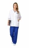 Медицинский костюм Ольга женский: куртка, брюки белый с васильковым