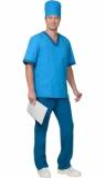 Хирургический костюм Реал мужской: куртка, брюки, колпак светло-синий с бирюзовым