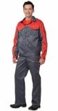 Костюм АВТОМАСТЕР: куртка, полукомбинезон тёмно-серый с красным