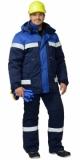 Костюм Сургут зимний: куртка, полукомбинезон тёмно-синий с васильковым и светоотражающей полосой