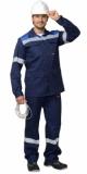 Костюм Сургут летний: куртка, полукомбинезон тёмно-синий с васильковым и светоотражающей полосой