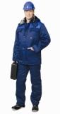 Костюм Профессионал зимний: куртка длинная, полукомбинезон синий с васильковым
