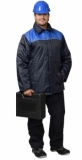 Куртка Бригадир-2 длинная, мужская тёмно-синяя с васильковым