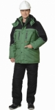 Куртка Вега длинная, зелёная с чёрным