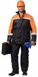 Куртка Гастарбайтер длинная, чёрная с оранжевым и светоотражающей полосой