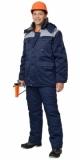 Куртка Профессионал длинная, зимняя тёмно-синяя с серым