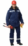 Костюм Мастер-ПРО зимний: куртка длинная, брюки темно-синий, светоотражающая полоса шириной 50 мм