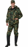 Костюм Охотник: куртка, брюки, жилет камуфлированный Лес