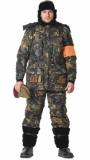 Костюм Охотник-люкс зимний: куртка длинная, полукомбинезон камуфлированный Дубок