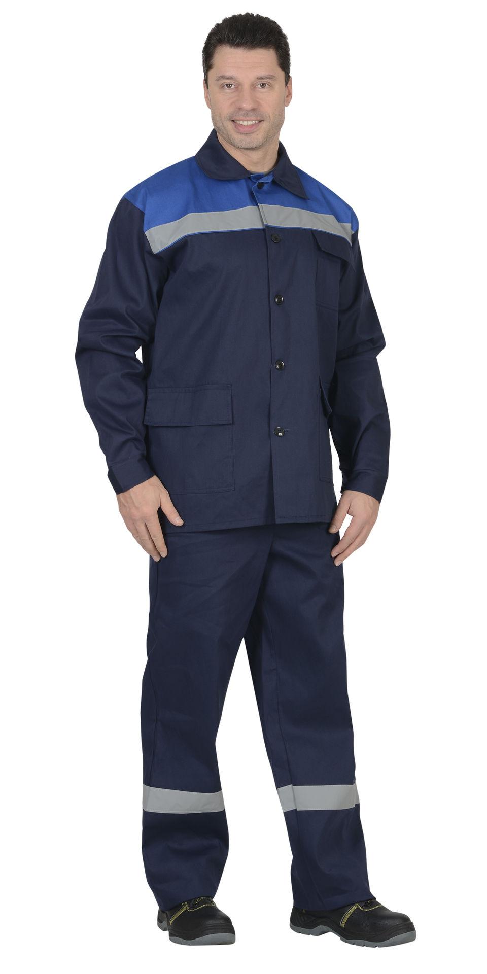 Костюм Производственник синий с васильковым: куртка, брюки со светоотражающей полосой