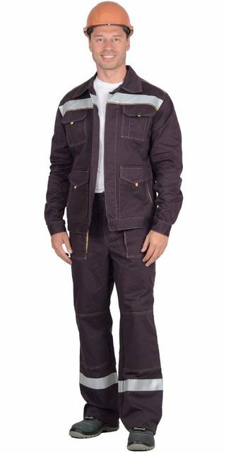 Костюм Троя: куртка, брюки тёмно-коричневый со светоотражающей полосой