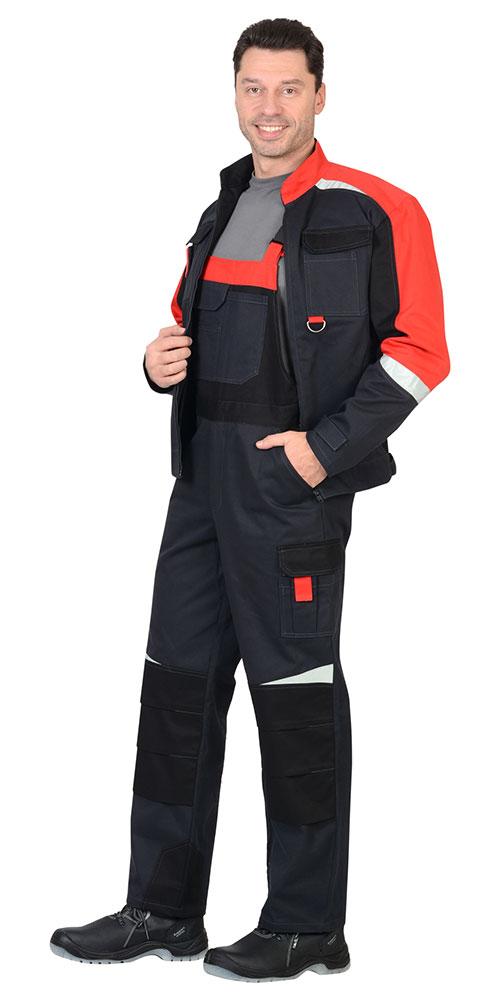 Костюм Фаворит-Мега: куртка, полукомбинезон серый с красным и черным со светоотражающей полосой
