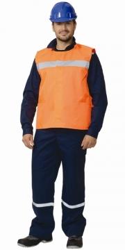 Жилет сигнальный светоотражающий со светоотражающей полосов Трасса-А (ткань Оксфорд) оранжевый