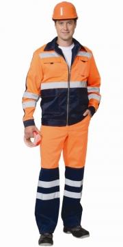 Костюм Магистраль-люкс летний: куртка, брюки оранжевый с синим и светоотражающими полосами