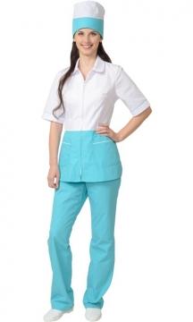 Медицинский костюм Стефани женский: куртка, брюки, колпак белый со светло-бирюзовым