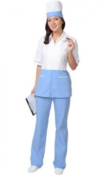 Медицинский костюм Стефани женский: куртка, брюки, колпак белый с голубым