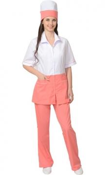 Медицинский костюм Стефани женский: куртка, брюки, колпак белый с тёпло-розовым