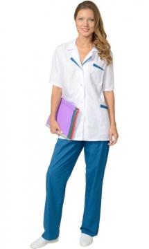 Медицинский костюм «ЛИЗА» женский: куртка, брюки белый с тёмно-бирюзовым