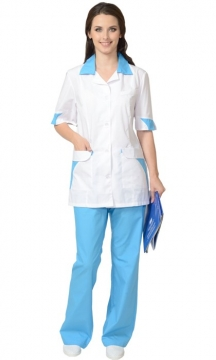 Медицинский костюм Марго женский: куртка, брюки белый с голубым