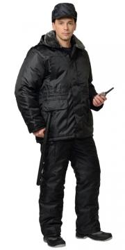 Костюм Охранник зимний: куртка длинная, полукомбинезон чёрный