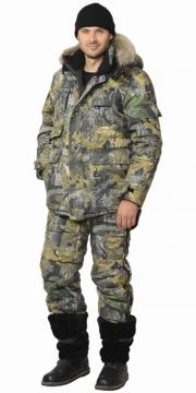 Костюм утепленный Беркут-тайга: куртка длинная, полукомбинезон камуфлированный Дубок