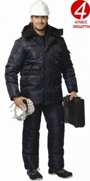 Костюм Берукт: куртка длинная, полукомбинезон синий с чёрным