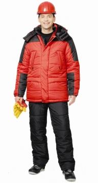 Костюм Европа зимний: куртка длинная, брюки красный с черным