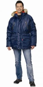 Куртка Аляска длинная, мужская тёмно-синяя