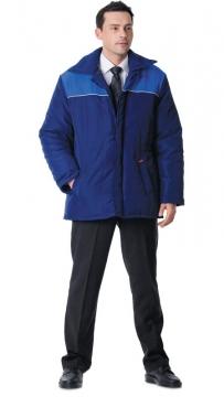 Куртка Бригадир длинная, мужская тёмно-синяя с васильковым
