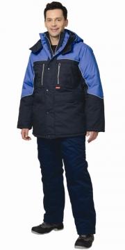 Куртка Вега длинная, синяя с васильковым
