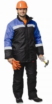 Куртка Гастарбайтер длинная, чёрная с васильковым и светоотражающими полосами