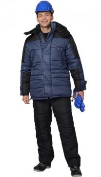Куртка Европа длинная, синяя с чёрным