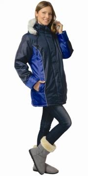 Куртка Карелия длинная, женская тёмно-синяя с васильковым