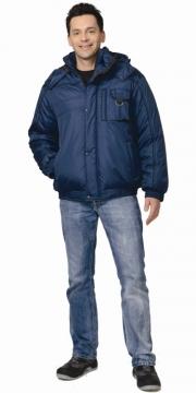 Куртка Олимп короткая мужская синяя с черной окантовкой