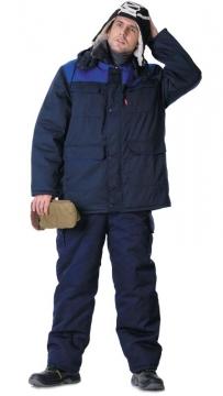 Куртка Профессионал длиннная, зимняя тёмно-синяя с васильковым