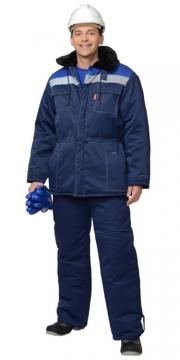 Костюм Легионер: куртка длинная, брюки темно-синий с васильковой кокеткой