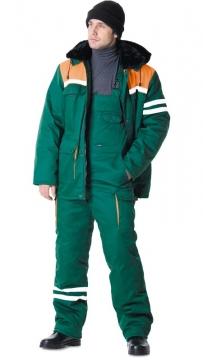 Костюм Лидер зимний: куртка длинная, полукомбинезон зелёный с оранжевым и светоотражающей полосой