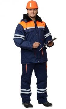 Костюм Лидер зимний: куртка длинная, полукомбинезон синий с оранжевым и светоотражающей полосой