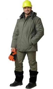 Костюм Метель: куртка длинная, брюки оливковый