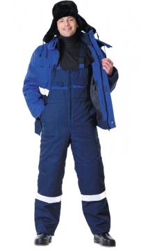 Костюм Новатор зимний: куртка короткая, полукомбинезон синий с васильковым и светоотражающей полосой