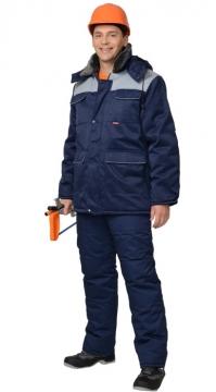 Костюм Профессионал зимний: куртка длинная, брюки тёмно-синий с васильковым