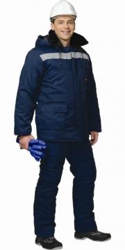 Костюм Север (МТ2-4 климатический пояс) зимний длинная куртка, брюки темно-синий со светоотражающей полосой