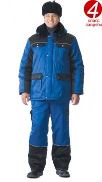 Костюм Сириус зимний: куртка длинная, брюки васильковый с чёрным