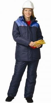 Костюм Снежана женский: куртка длинная, полукомбинезон синий с васильковым