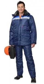 Костюм Строитель зимний: куртка длинная, брюки синий с васильковым и светоотражающей полосой